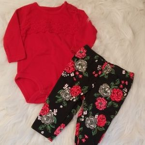 Carters Red Long sleeve Onesie with Floral Legging